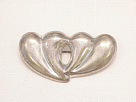 Sterling Silver Abstract Double Heart Brooch