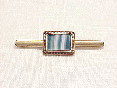 Vintage Victorian Or Edwardian Blue Marbled Agate Glass C Clasp Brooch