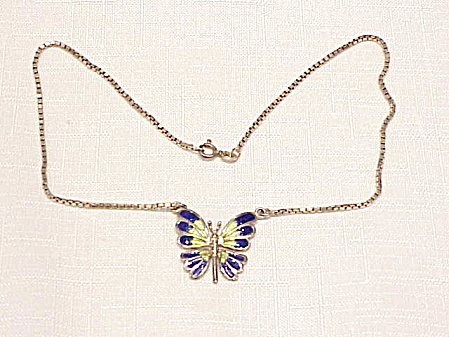 STERLING SILVER AND ENAMEL BUTTERFLY NECKLACE SIGNED AR ITALY (Image1)
