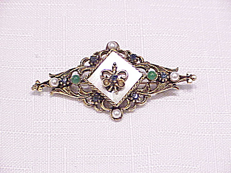 Vintage Art Antiqued Gold Rhinestone And Seed Pearl Brooch