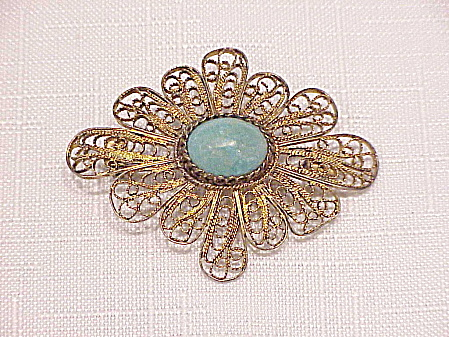 Vintage Israel Sterling Silver Filigree With Eilat Stone Brooch