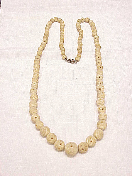 Vintage Long Carved Horn, Faux Ivory Or Bone Flower Bead Necklace