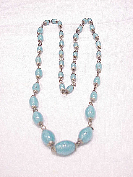 Vintage Turquoise Pearl Lustre Satin Art Glass Bead Necklace