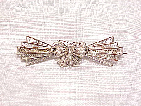 Vintage Sterling Silver Filigree Butterfly C Clasp Brooch