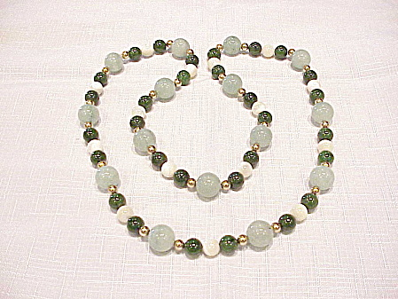 Vintage Jade, Adventurine And Mother Of Pearl Bead Necklace