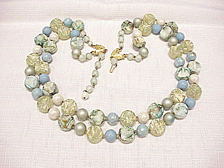 Vintage Hong Kong Double Strand Blue Green Lucite Bead Necklace