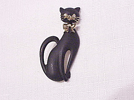 VINTAGE BLACK MATTE ENAMEL CAT BROOCH WITH RHINESTONE EYES (Image1)