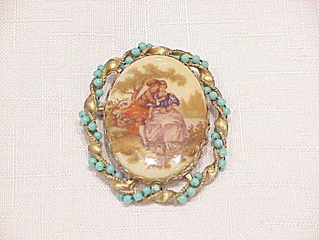 Vintage Fragonard Romantic Couple Brooch With Turquoise Beads