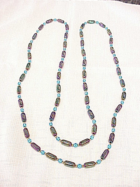 Vintage Iridescent Purple Blue Carnival Or Peacock Glass Bead Necklace