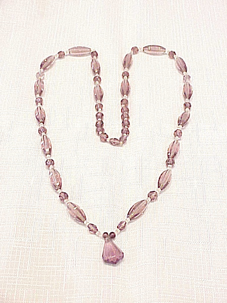 Vintage Pale Amethyst Faceted Crystal Glass Bead Necklace With Drop