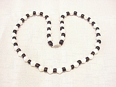 Vintage Art Deco Style White Iridescent And Black Glass Bead Necklace