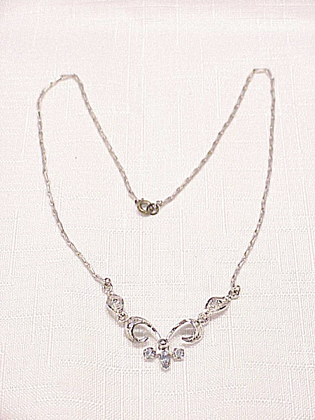 Vintage Espo Sterling Silver Filigree Blue Rhinestone Necklace