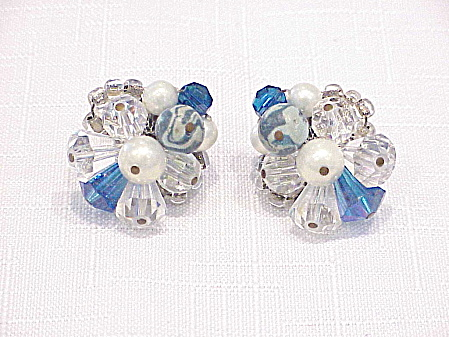 Vintage Vendome Blue And Clear Glass Crystal Clip Earrings