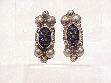 Vintage Mexican Sterling Silver Black Onyx Face Mask Earrings