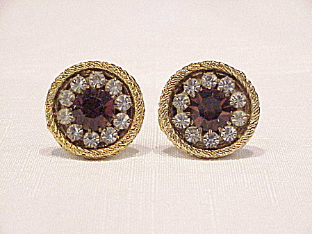 Vintage Large Amber And Clear Rhinestone Gold Tone Cufflinks