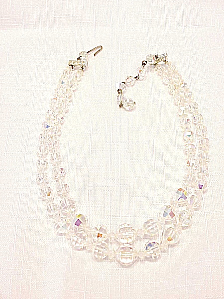 Vintage Double Strand Aurora Boralis Crystal Glass Bead Necklace