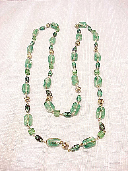 Vintage Swirled Green Art Glass Bead Wrapped In Gold Wire Necklace