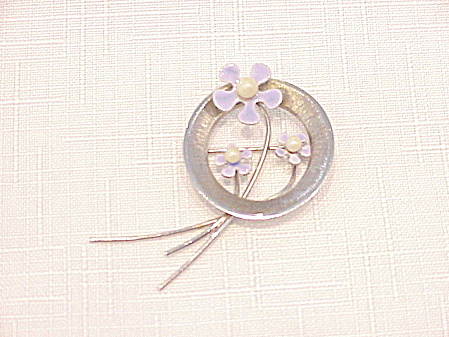 Vintage Beau Sterling Silver Pearl And Enamel Flower Brooch
