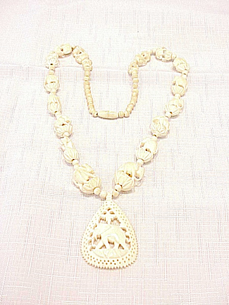 Vintage Carved Faux Ivory Or Horn Elephant Necklace