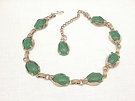 Vintage Art Deco Green Glass Silver Tone Choker Necklace