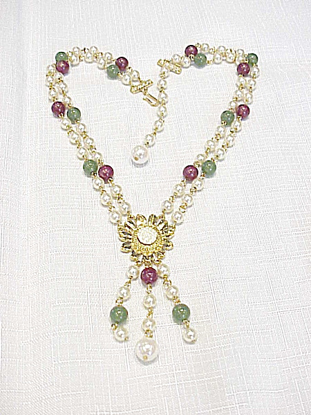 Vintage Faux Pearl, Jade, Amethyst Bead Necklace With Flower Pendant
