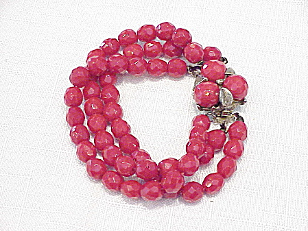 Vintage Three Strand Red Faceted Glass Bead Bracelet