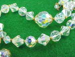 Click to view larger image of VINTAGE LONG AURORA BOREALIS CRYSTAL GLASS BEAD NECKLACE WITH TASSEL (Image3)
