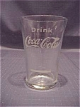 Click here to enlarge image and see more about item 3082: AUTHENTIC VINTAGE COCA-COLA FLARE GLASS WITH SYRUP LINE