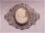 Click to view larger image of VICTORIAN OR VINTAGE SHELL CAMEO SILVER FILIGREE BROOCH (Image1)