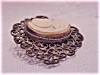 Click to view larger image of VICTORIAN OR VINTAGE SHELL CAMEO SILVER FILIGREE BROOCH (Image3)