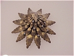 Click to view larger image of ART NOUVEAU STYLE LAYERED STAMPED BRASS LEAF BROOCH WITH RHINESTONES (Image1)