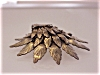Click to view larger image of ART NOUVEAU STYLE LAYERED STAMPED BRASS LEAF BROOCH WITH RHINESTONES (Image2)