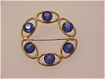 Click to view larger image of VINTAGE LARGE COBALT BLUE GLASS RHINESTONE CIRCLE BROOCH (Image1)