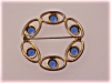Click to view larger image of VINTAGE LARGE COBALT BLUE GLASS RHINESTONE CIRCLE BROOCH (Image2)