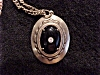 Click to view larger image of ANTIQUE JEWELRY - VICTORIAN OR EDWARDIAN BLACK ONYX  OR GLASS MOURNING PENDANT NECKLACE (Image2)