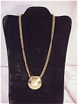 Click here to enlarge image and see more about item 3189: VINTAGE PARKLANE GOLD TONE MABE PEARL PENDANT NECKLACE