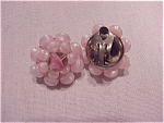 VINTAGE COSTUME JEWELRY - PINK BEAD AND GLASS CLIP EARRINGS