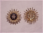 VINTAGE COSTUME JEWELRY - SEED PEARL, RHINESTONE AND ENAMEL CLIP EARRINGS SIGNED EmJ