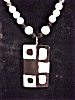 Click to view larger image of VINTAGE PARKLANE MOD STYLE LUCITE PENDANT ON BLACK, WHITE, SILVER BEAD NECKLACE  (Image2)