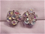 VINTAGE COSTUME JEWELRY - AURORA BOREALIS CRYSTAL BEAD CLIP EARRINGS