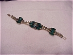 VINTAGE COSTUME JEWELRY - EMERALD GREEN AND AURORA BOREALIS RHINESTONE BRACELET