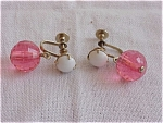 VINTAGE COSTUME JEWELRY - PINK LUCITE AND WHITE GLASS BEAD DANGLE SCREWBACK EARRINGS