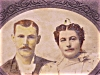 Click to view larger image of ANTIQUE CABINET PHOTOGRAPH OF COUPLE WITH MAN IN DRAG OR UGLY WOMAN (Image2)