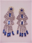 COSTUME JEWELRY - LONG DANGLING BLUE AND CLEAR RHINESTONE PIERCED EARRINGS