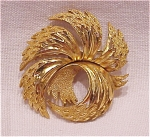 VINTAGE COSTUME JEWELRY - TWO TONE SWIRL BROOCH SIGNED CROWN TRIFARI