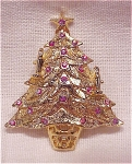 COSTUME JEWELRY - AURORA BOREALIS RHINESTONE CHRISTMAS TREE BROOCH
