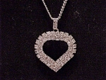 Click here to enlarge image and see more about item 04J1085: COSTUME JEWELRY - RHINESTONE HEART PENDANT NECKLACE