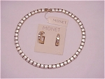 MONET GOLD AND SILVER TONE NECKLACE AND PIERCED EARRINGS SET - NWT