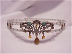 LIZ CLAIBORNE VICTORIAN STYLE RHINESTONE AND BEAD CHOKER NECKLACE