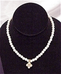 WEDDING STYLE PEARL CHOKER NECKLACE WITH PEARL AND RHINESTONE DROP